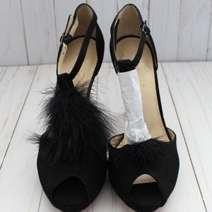Talbot Elana Suede Leather Feather T Strap Pumps